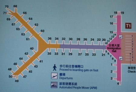Hong Kong international airport gate map showing gate numbers: