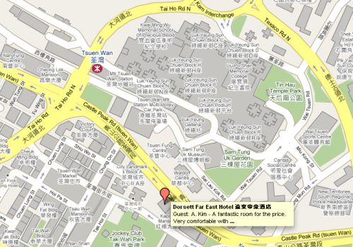 Tsuen Wan MTR station and Dorsett Far East hotel map