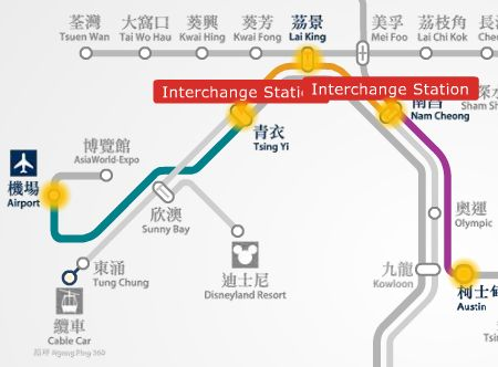 Hong Kong airport HKIA to Austin MTR station route map
