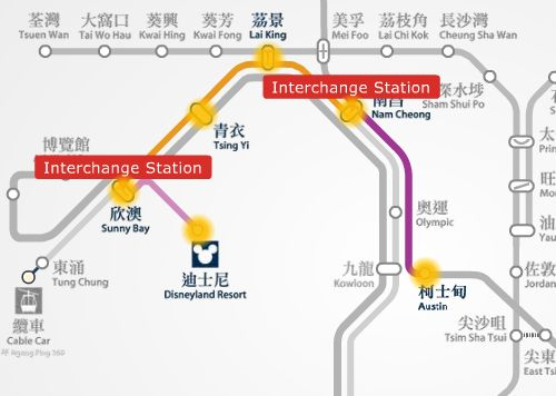 Austin station to HK Disneyland MTR route map