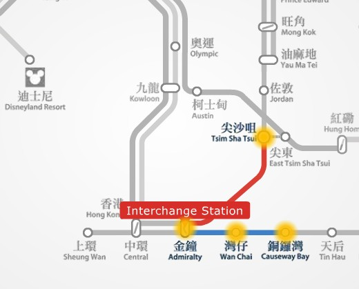 MTR route map between Causeway Bay and TST station