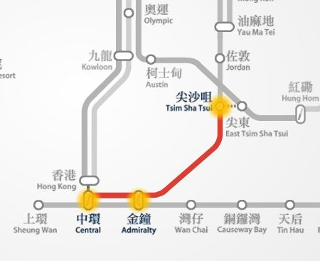 Central to Tsim Sha Tsui MTR route map