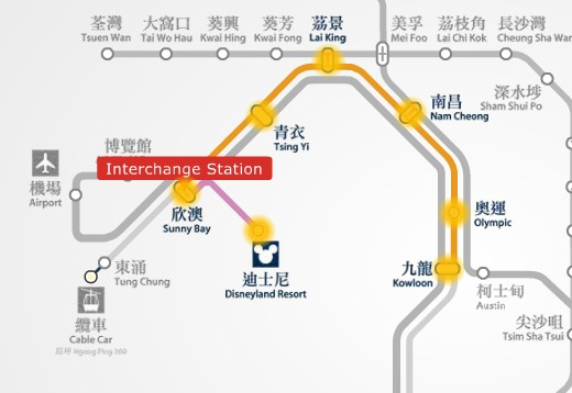 MTR route map between Disneyland Resort and Kowloon station.