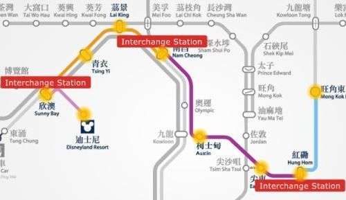 Disneyland Resort to Mong Kok East MTR station map