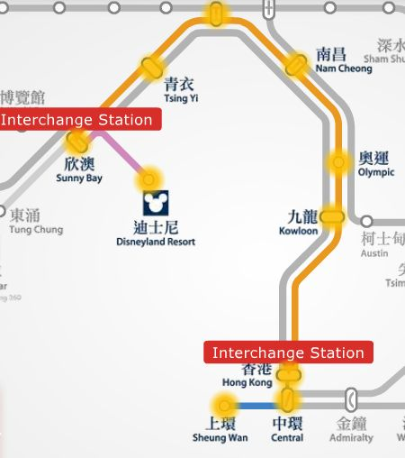 Disneyland Resort to Sheung Wan MTR stations route map.