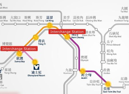 HK Disneyland to YMCA Salisbury hotel MTR train route map