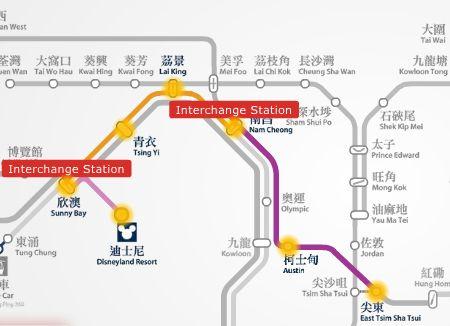HK Disneyland to YMCA Salisbury hotel MTR train route map