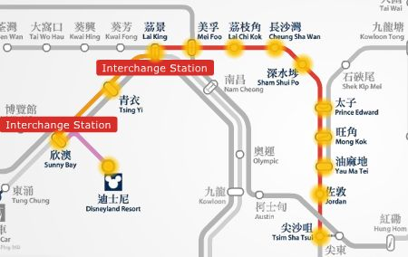 MTR route map between Tsim Sha Tsui and HK Disneyland