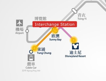 Disneyland Resort to Tung Chung MTR station route map
