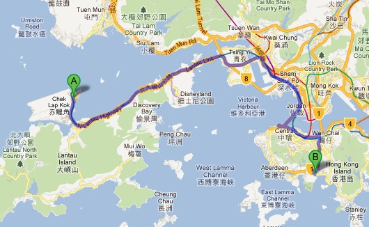 HK airport and Ocean Park location map