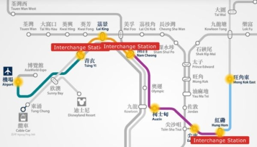 Hong Kong airport to Mong Kok East MTR route map