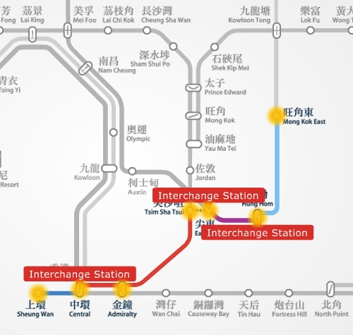 MTR route map between Mong Kok East and Sheung Wan station.