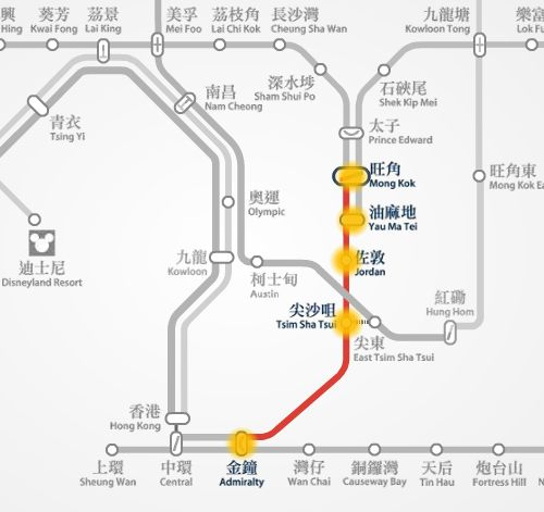 Mong Kok to Admiralty MTR station route map