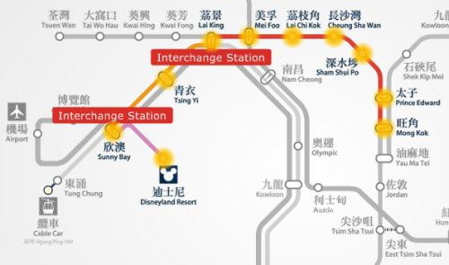 Mong Kok to Disneyland MTR station route map