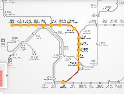 Tsuen Wan to Admiralty MTR route map