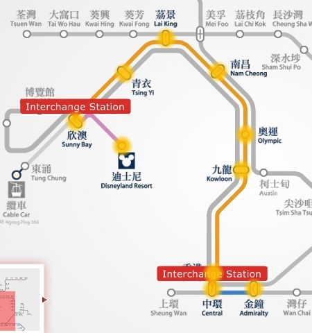 From Ocean Park to Hong Kong Disneyland MTR trains route map.