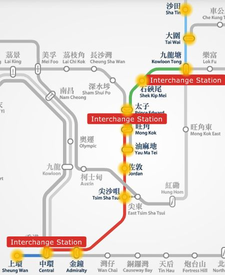 Sha Tin to Sheung Wan MTR route map