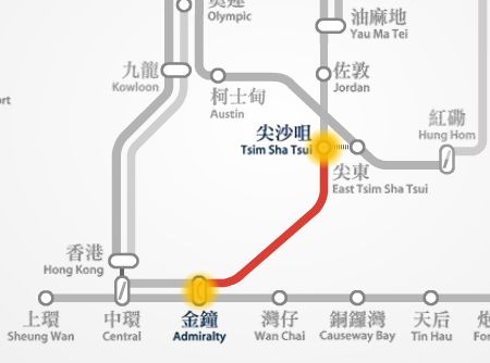 MTR route map between TST and Admiralty station