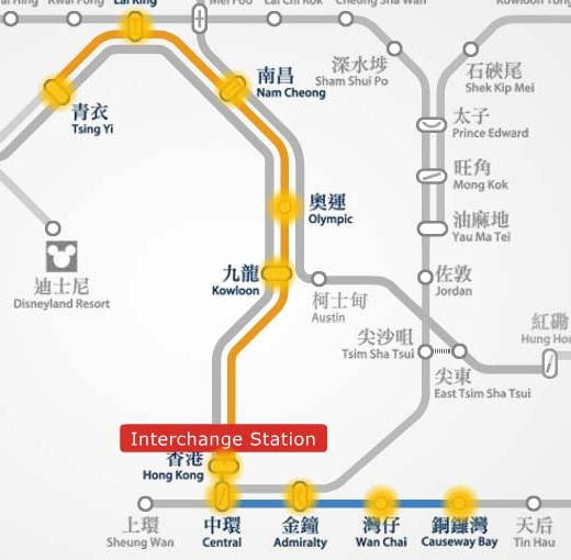 Tsing Yi to Causeway Bay MTR station route map