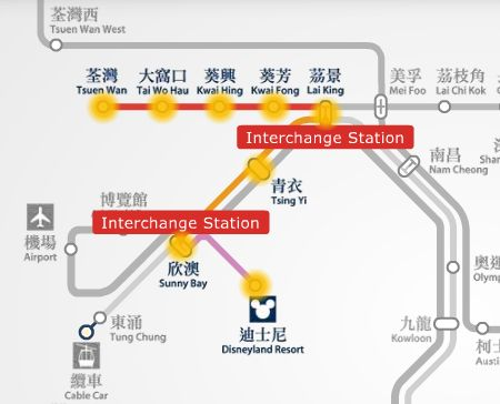 Tsuen Wan station to Disneyland Resort station MTR route map