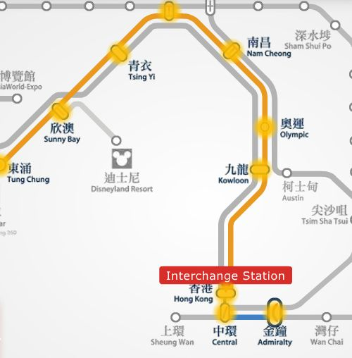 Mtr route map between Tung Chung and Admiralty station.