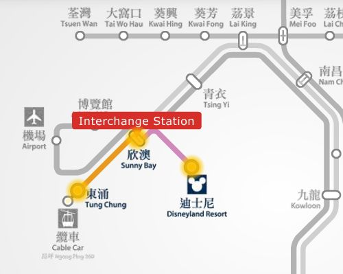 Tung Chung MTR station to Disneyland