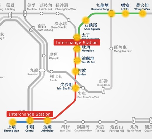 MTR route map between Wong Tai Sin and Sheung Wan station.