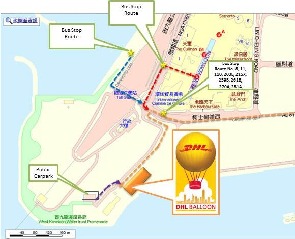 DHL Hong Kong Balloon walking route map