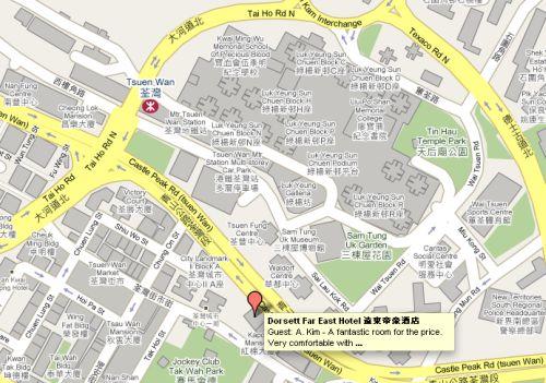 Tsuen Wan MTR station and Dorsett Far East hotel map