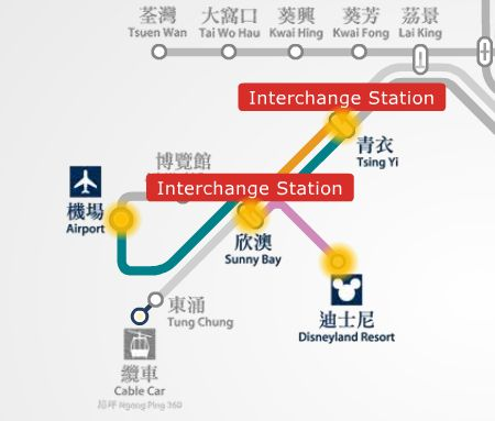 MTR route map from Hong Kong Disneyland to airport (HKIA).