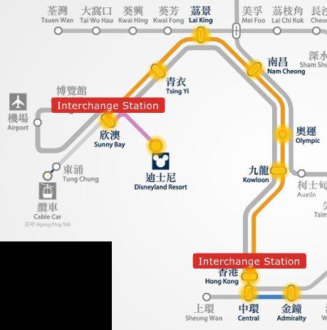 Hong Kong Disneyland to Ocean Park route map