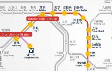 HK Disneyland to Tsim Sha Tsui MTR route map.