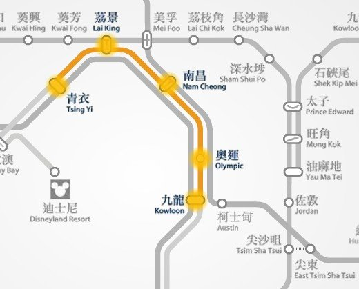 MTR route map between Kowloon and Tsing Yi station