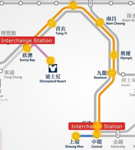 Sheung Wan to HK Disneyland MTR route map