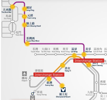 From Harbour Plaza Resort to Hong Kong Disneyland resort MTR route map.