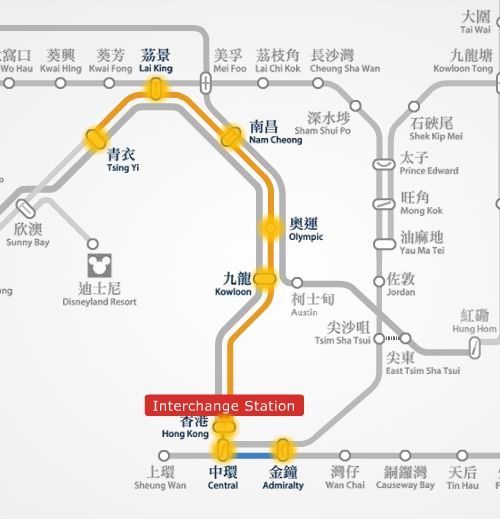 Tsing Yi to Admiralty route map