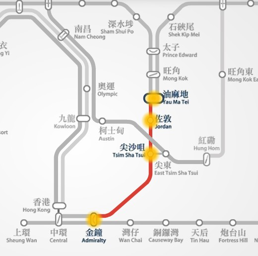 MTR route map between Yau Ma Tei and Admiralty station